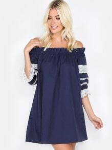 Lace Sleeve Off the Shoulder Dress NAVY