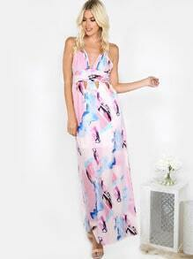 Abstract Cut Out Maxi Dress MULTI