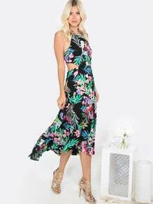 Floral Halter Cut Out Dress BLACK