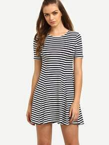 Black And White Striped Short Sleeve Dress