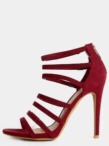 Strappy Open Toe Stiletto Heels BURGUNDY
