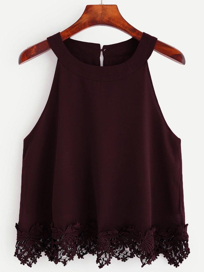 Halter Keyhole Button Back Lace Crochet Trim Crop Top vest160705021