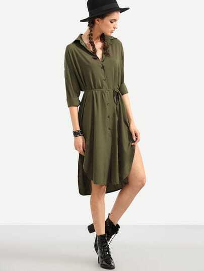 Self Tie Curved Hem  Shirt Dress