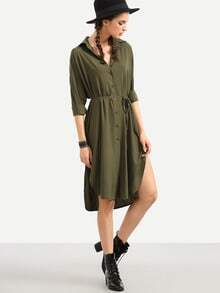 Olive Green Self Tie High Low Shirt Dress