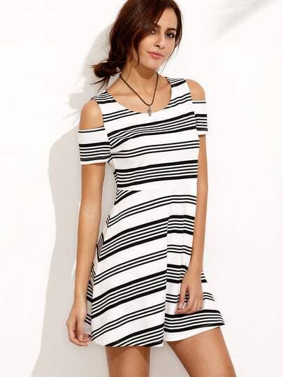 Blue White Stripe Short Sleeve Cold Shoulder Dress