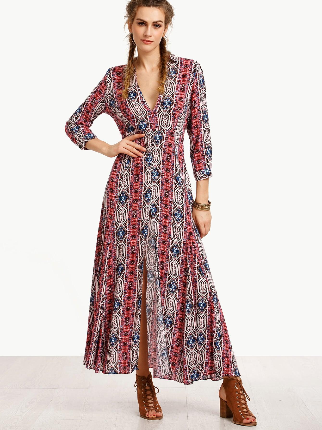 Multicolor V Neck Split Side Long Dress dress160714751