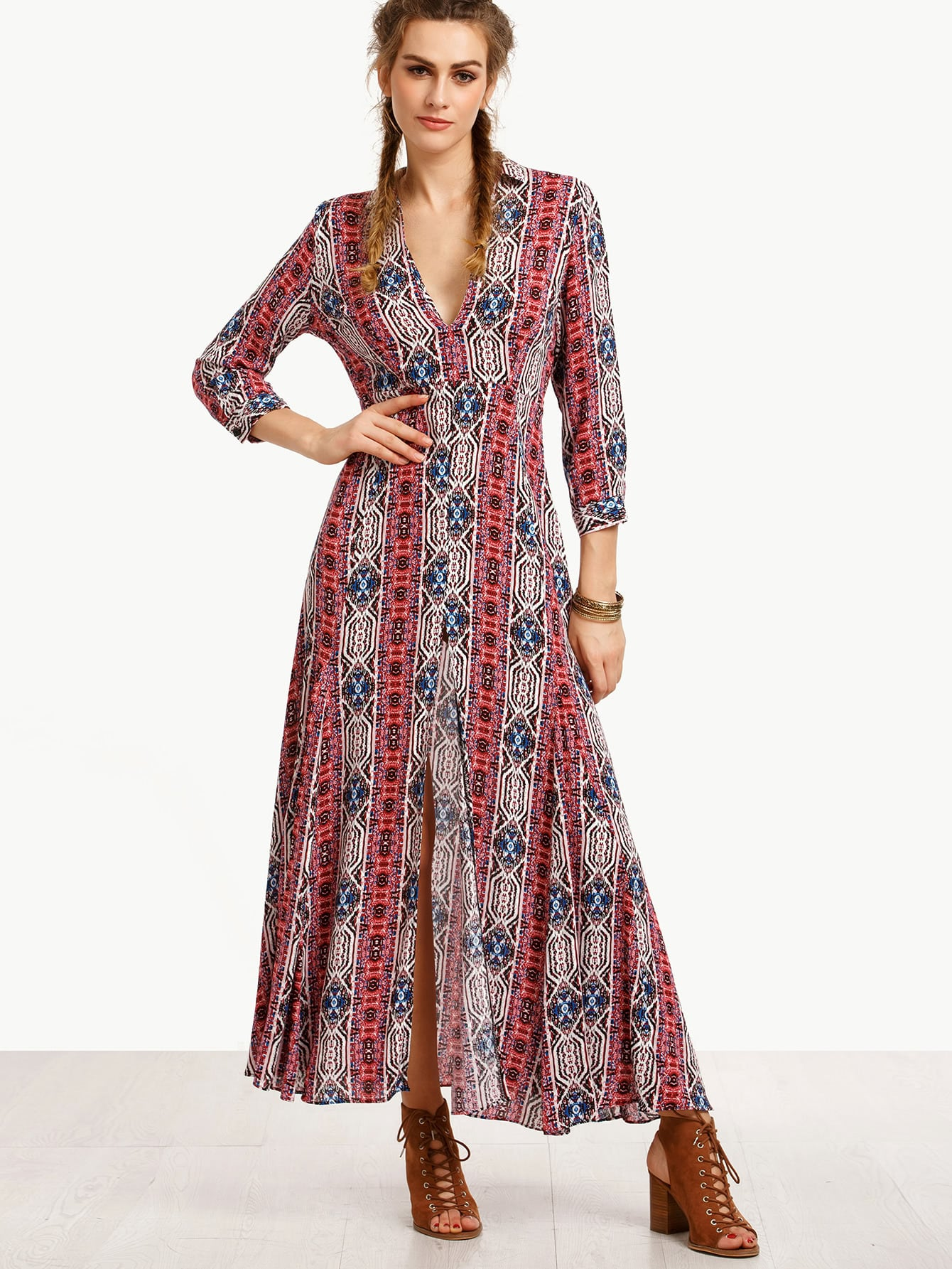 Multicolor V Neck Split Side Long Dress dress160714751