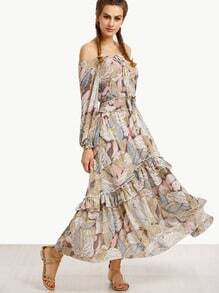 Multicolor Off The Shoulder Long Dress