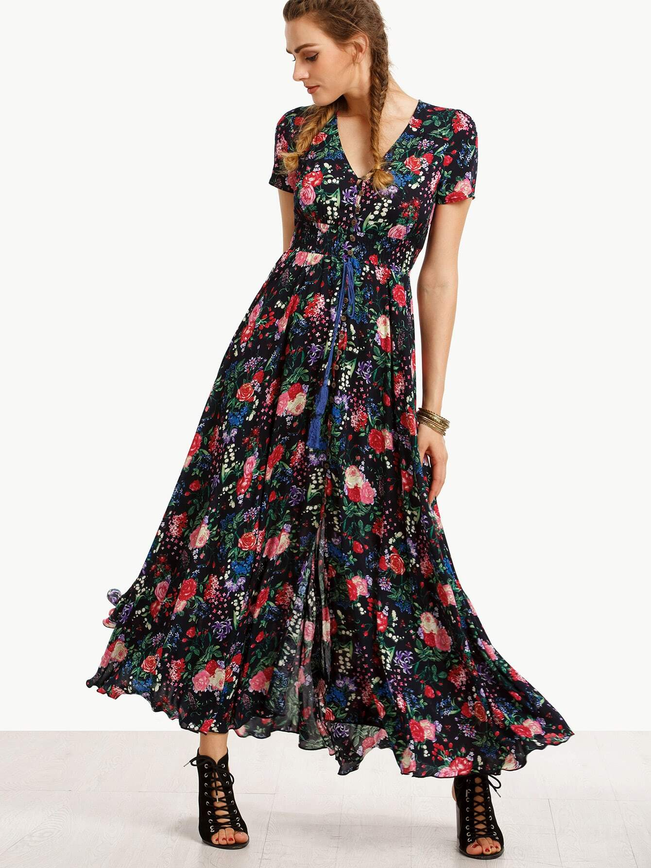 Plunging Printed Frill Hem Dress With Drawstring Waist
