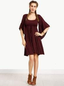 Burgundy Bell Sleeve Pleated Dress