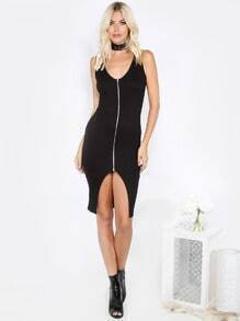 Zipper Bodycon Tank Dress BLACK