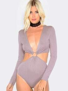 Long Sleeve Cut Out Bodysuit GREY