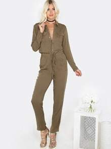 Long Sleeve Button Up Jumpsuit OLIVE