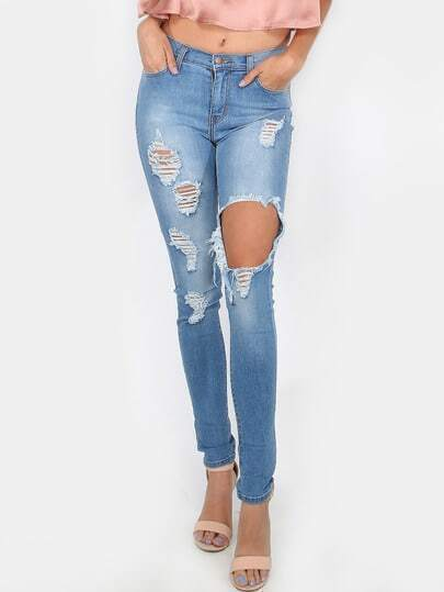 Ripped Medium Wash Skinny Jeans MEDIUM STONE