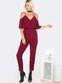 Open Shoulder Ruffle Jumpsuit BURGUNDY