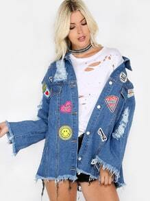 Patches Detail Frayed Boyfriend Jacket BLUE DENIM