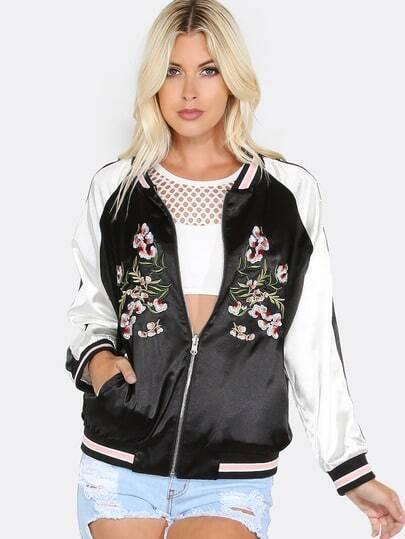 Embroidered Satin Reversible Jacket BLACk