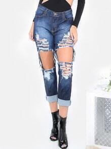 Ripped Boyfriend Jeans  BLUE