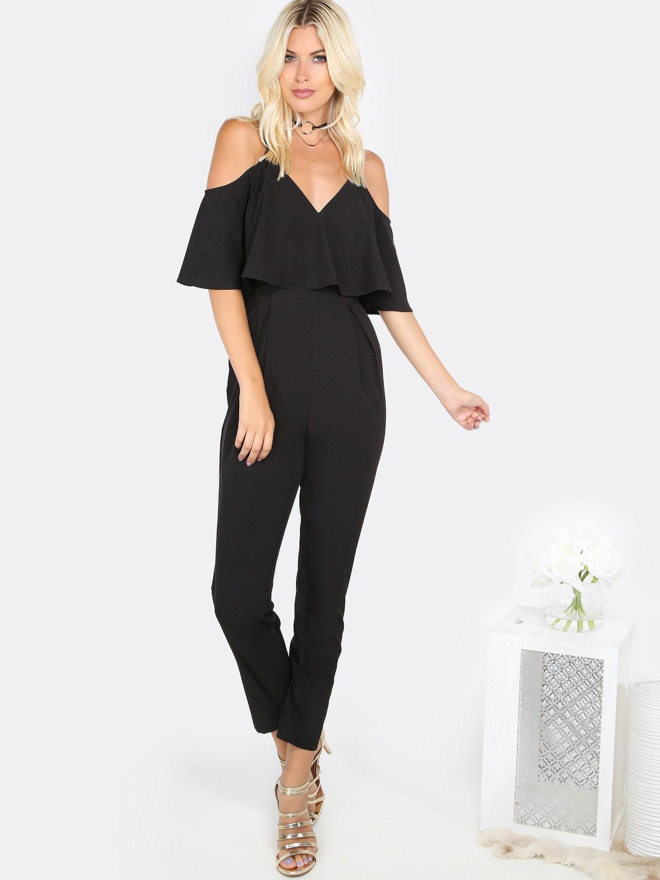 Cold Shoulder Flare Jumpsuit BLACK black one shoulder frill layered design jumpsuit