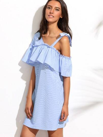 Blue Tie Shoulder Ruffle Shift Dress