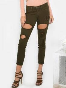 Destroyed Cuff Boyfriend Jeans OLIVE
