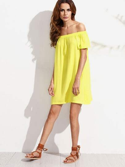 Yellow Off The Shoulder Short Sleeve Dress