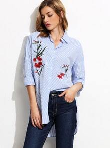 Pinstripe Embroidery Dip Hem Split Side Shirt