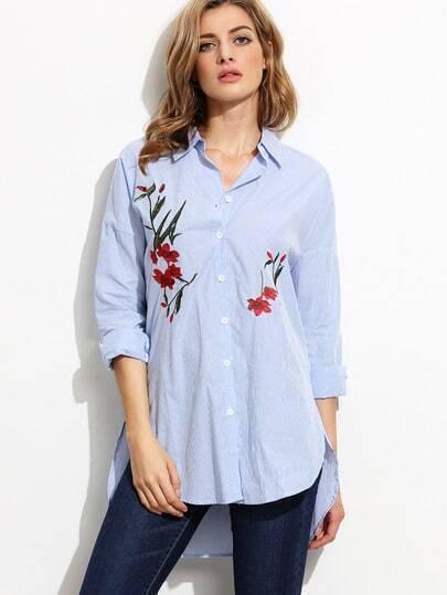 Синяя блуза с контрастным воротником и вышивкой