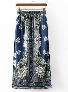 Multicolor Elastic Waist Split Side Vintage Print Long Skirt