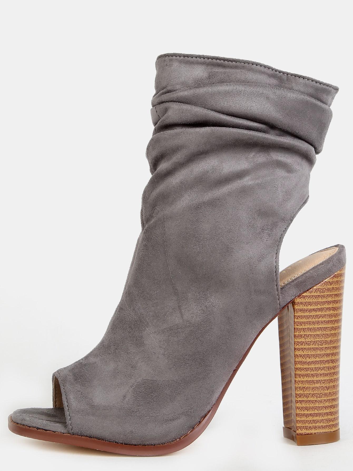 heel cut out slouchy suede boots grey shein sheinside