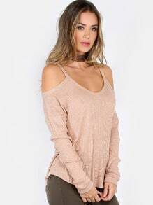 Shoulder Cut Out Sweater Top LIGHT BROWN