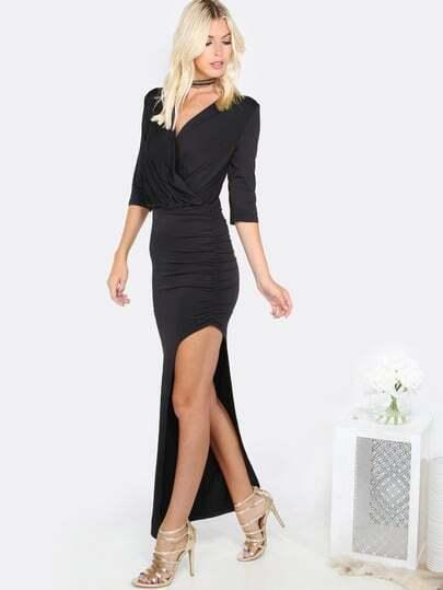 Asymmetrical Ruched Dress BLACK