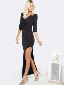 Asymmetrical Ruched Dress BLACK