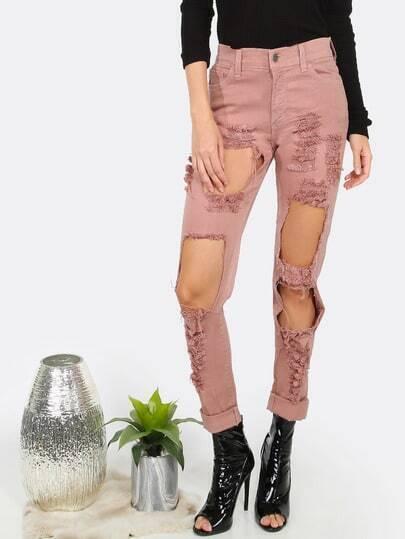 Slim Fit Destroyed Denim Jeans PINK