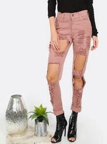 Slim Fit Destroyed Denim Jeans PINK