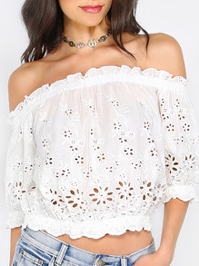 White Hollow Off The Shoulder Blouse