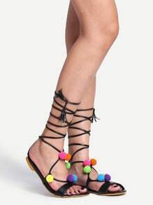 Faux Leather Pom Pom Trimmed Lace-Up Sandals - Black
