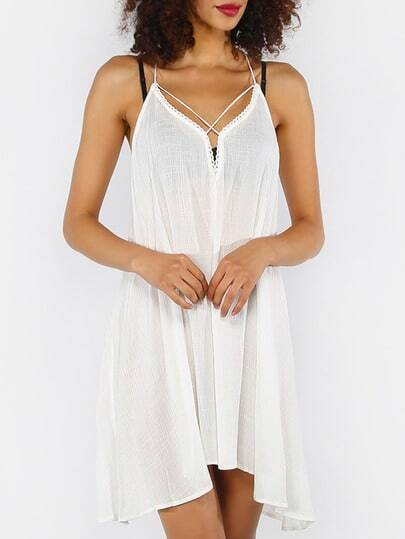 White Crisscross Tie Back Asymmetrical Dress