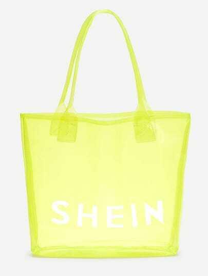 Neon SHEIN Print Clear Beach Tote Bag