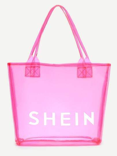 Hot Pink SHEIN Print Clear Beach Tote Bag