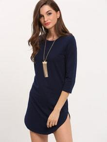 Navy Informal Round Neck Split Bodycon Dress