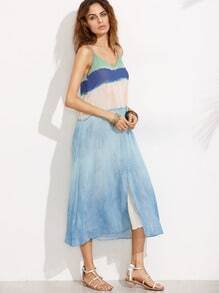 Blue V Neck Spaghetti Strap Split Maxi Dress
