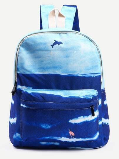Blue Sea Print Canvas Backpack