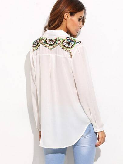 White Lapel Embroidery Buttons Blouse