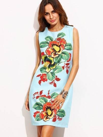 Blue Sleeveless Floral Zipper Back Dress