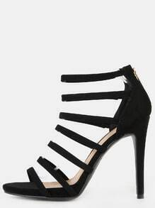 Strappy Stiletto Open Toe Heels BLACK