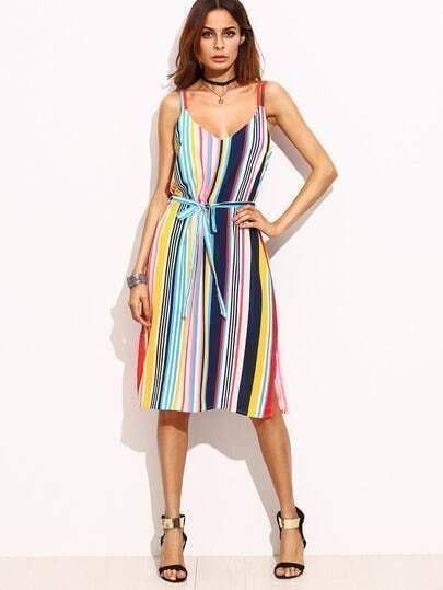 Multicolor V Neck Stripe Dress With Belt