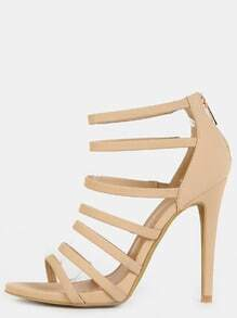 Multi Strap Stiletto Open Toe Heels NUDE