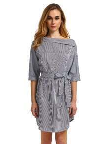 Pinstripe One Shouldered Dip Hem Dress With Tie Waist