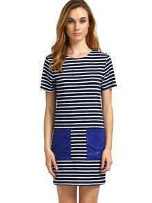 Striped Short Sleeve PU Leather Pocket Dress